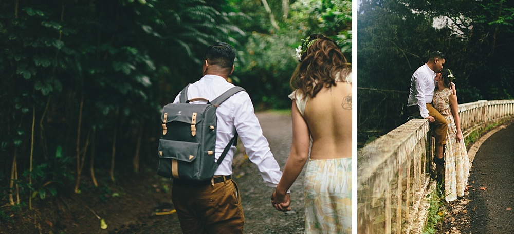 beautiful waterfall engagement photography in Maui, Hawaii with cadenica photography.