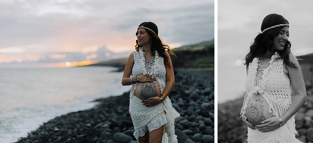 maui maternity photographer cadencia captures henna on the belly in hawaii.