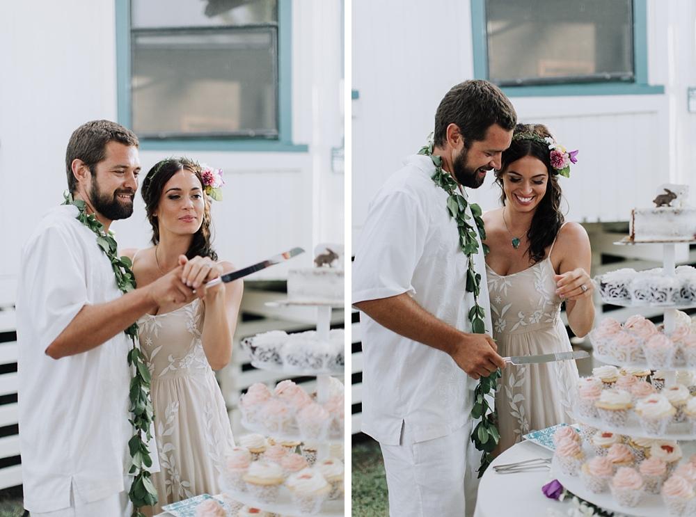 cake cutting haiku maui backyard wedding