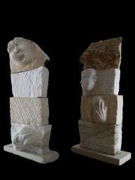 Raiva, Ironia, Inveja e Medo mármore, lioz e calcário 74 x 162 x 34 cm, 2009