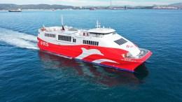El buque Ceuta Jet saliendo del Puerto de Algeciras