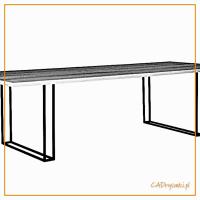 Stół na cienkich podwójnych nogach