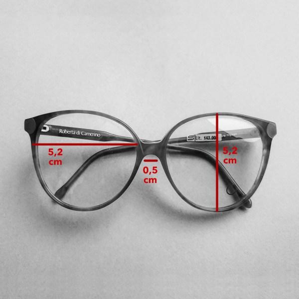 occhiali Roberta di Camerino con dettaglio delle misure