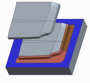 Molded part with core and inserts