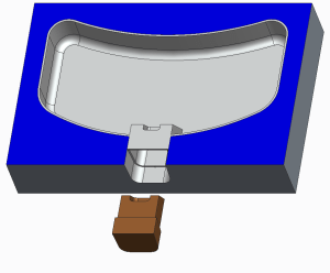 Molded part with slider