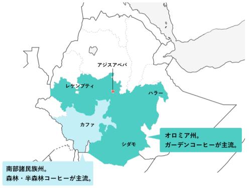 エチオピアのコーヒー産地:オロミア州と南部諸民族州