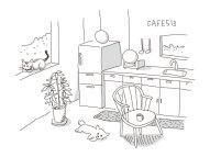 キッチンの犬と猫