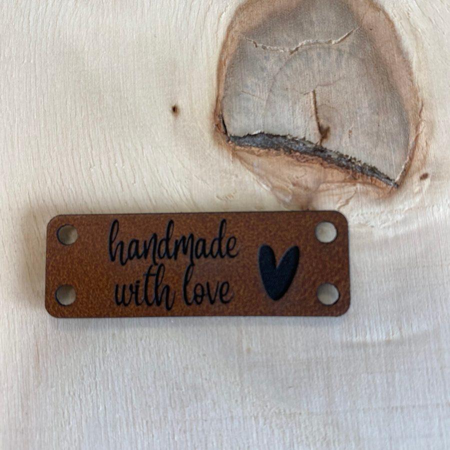 Kunstlederen label Handmade with love