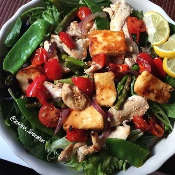 Pan Fried Chicken Haloumi Salad
