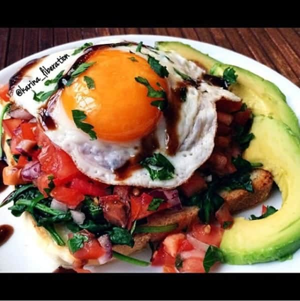 Fried Egg Bruschetta with Avocado