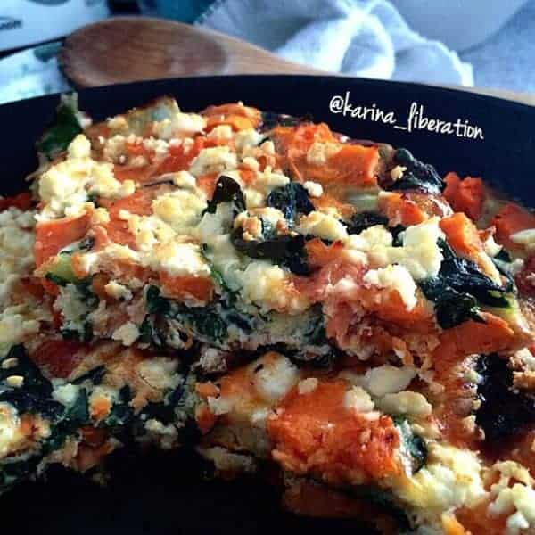 Smoked Salmon, Spinach, Sweet Potato and Fetta Frittata