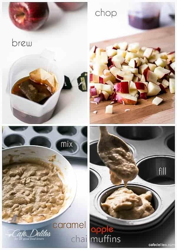 Caramel Apple Chai Muffins | https://cafedelites.com