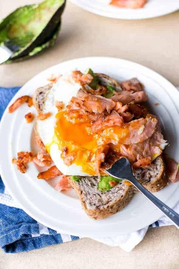 Crispy Smoked Salmon and Fried Egg Stack