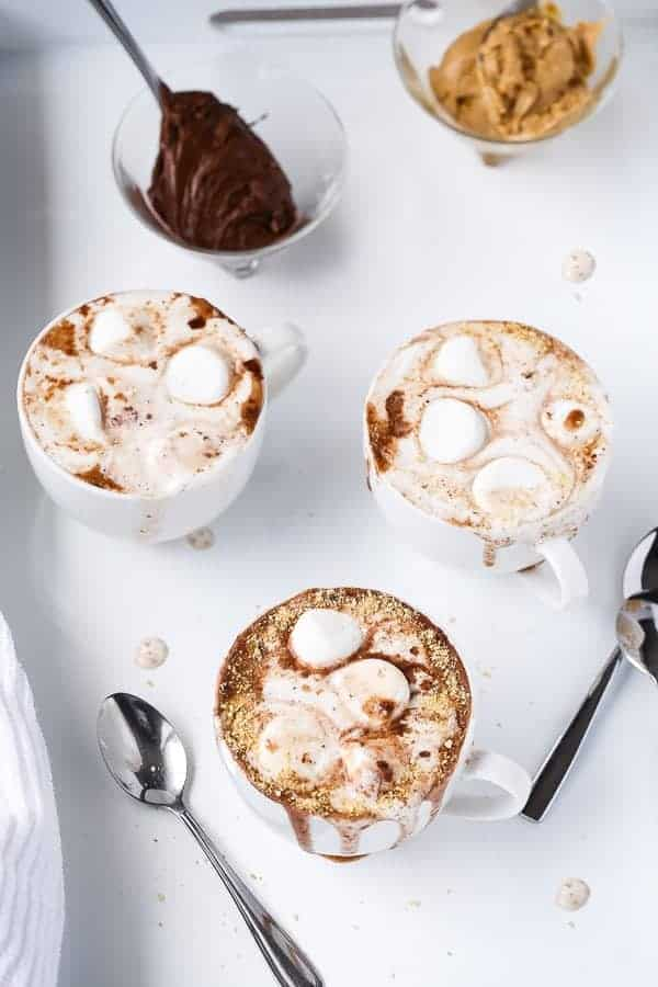Peanut Butter Nutella S'mores Hot Chocolate by http://cafedelites