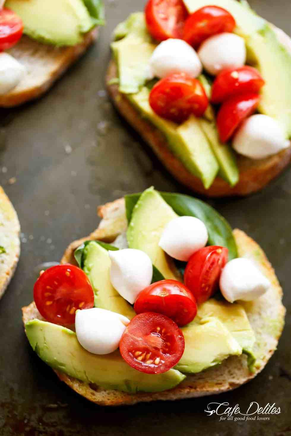 Caprese Crostini with avocado slices are quick to make!