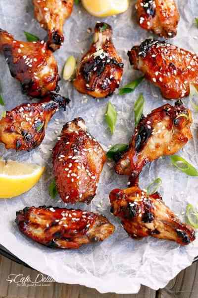 Sticky Honey Sesame Chicken Wings   https://cafedelites.com