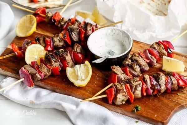 Greek Lamb Souvlaki with a Garlic Yogurt Dip   http://cafedelites.com