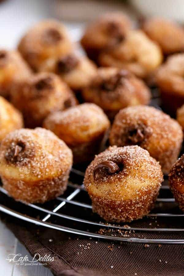Nutella Churro Donut Holes | http://cafedelites.com