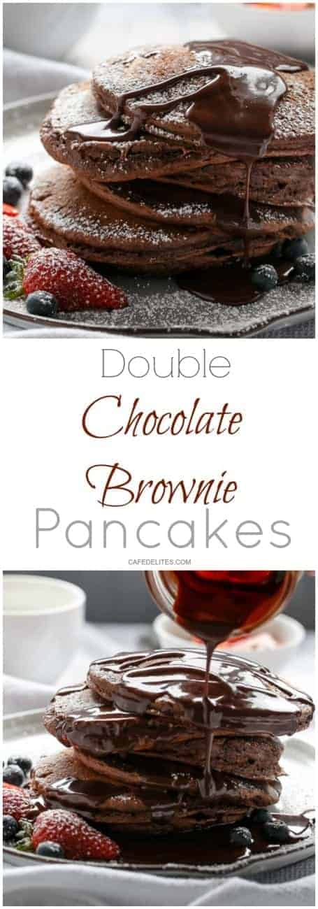 Double Chocolate Brownie Pancakes | https://cafedelites.com
