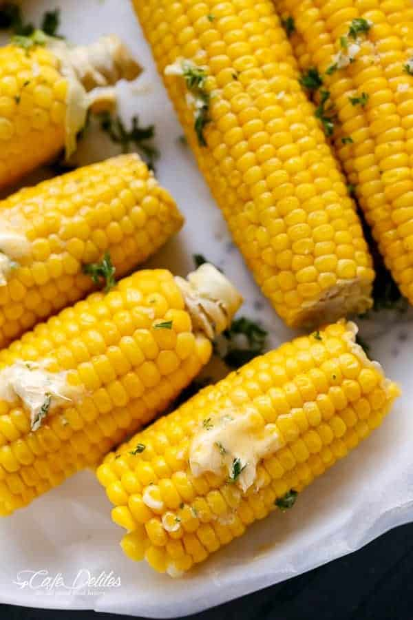The Best Corn On The Cob With Garlic Butter | https://cafedelites.com