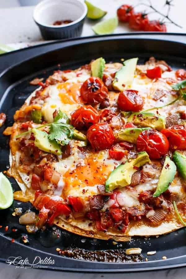 Huevos Rancheros Tortizza (Tortilla Pizza)   https://cafedelites.com