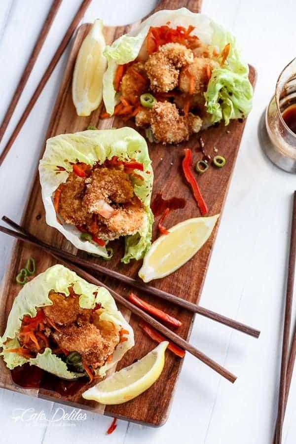 Oven Fried Tempura Batter Shrimp Lettuce Wraps with Teriyaki Sauce | http://cafedelites.com