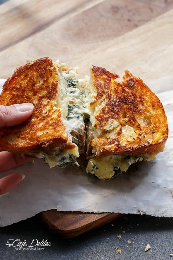 Spinach and Ricotta Grilled Cheese | https://cafedelites.com
