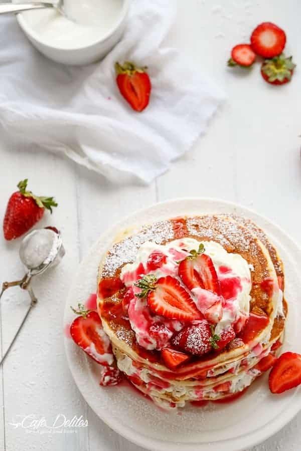 Strawberry Shortcake Pancakes | http://cafedelites.com