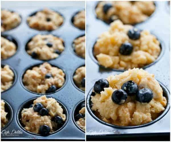 Blueberry Cheesecake Streusel French Toast Muffins | https://cafedelites.com