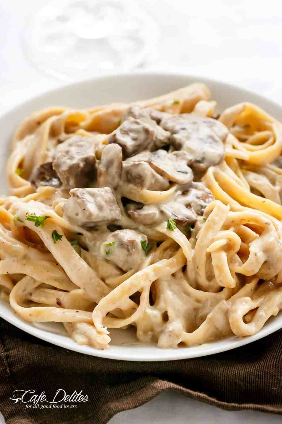 Creamy Beef and Mushroom Stroganoff served over pasta OR noodles! | cafedelites.com