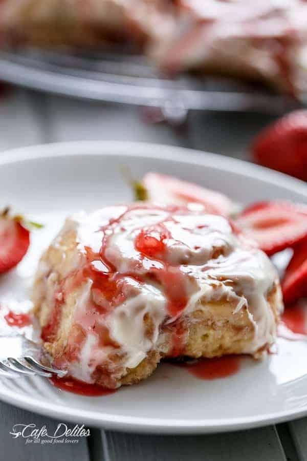 No Yeast Strawberries And Cream Cinnamon Rolls
