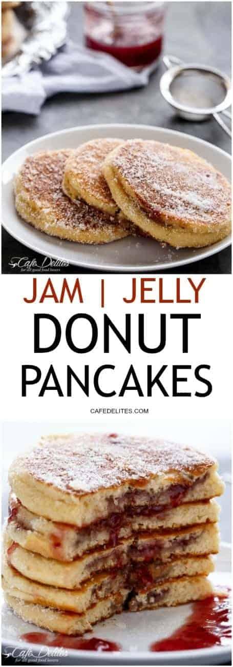 Jam (Jelly) Donut Pancakes | http://cafedelites.com