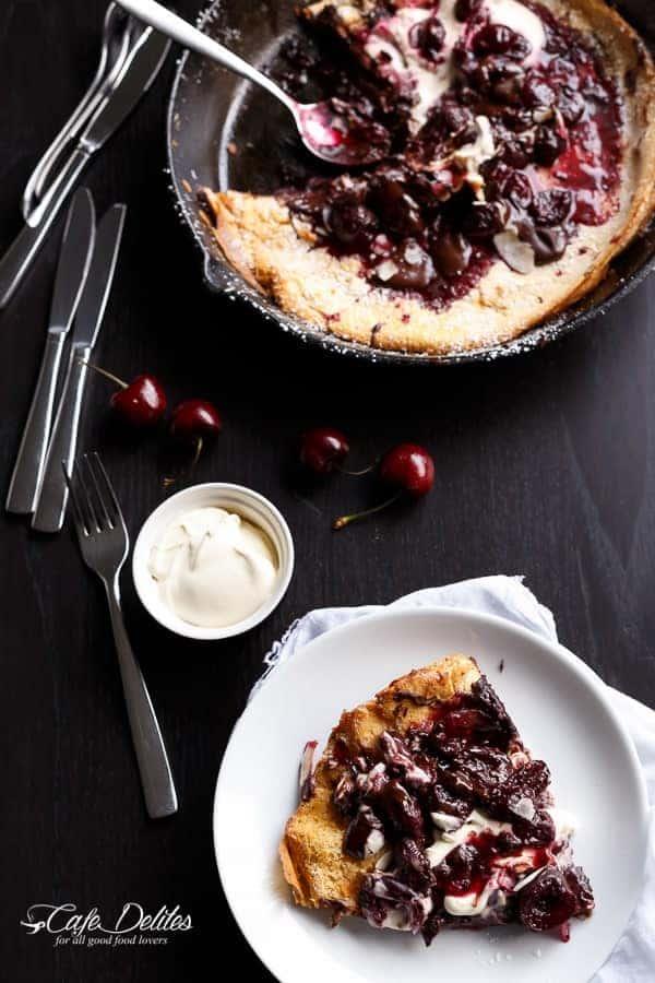 Chocolate-Cherry German Pancake (or Dutch Baby Pancake) | https://cafedelites.com