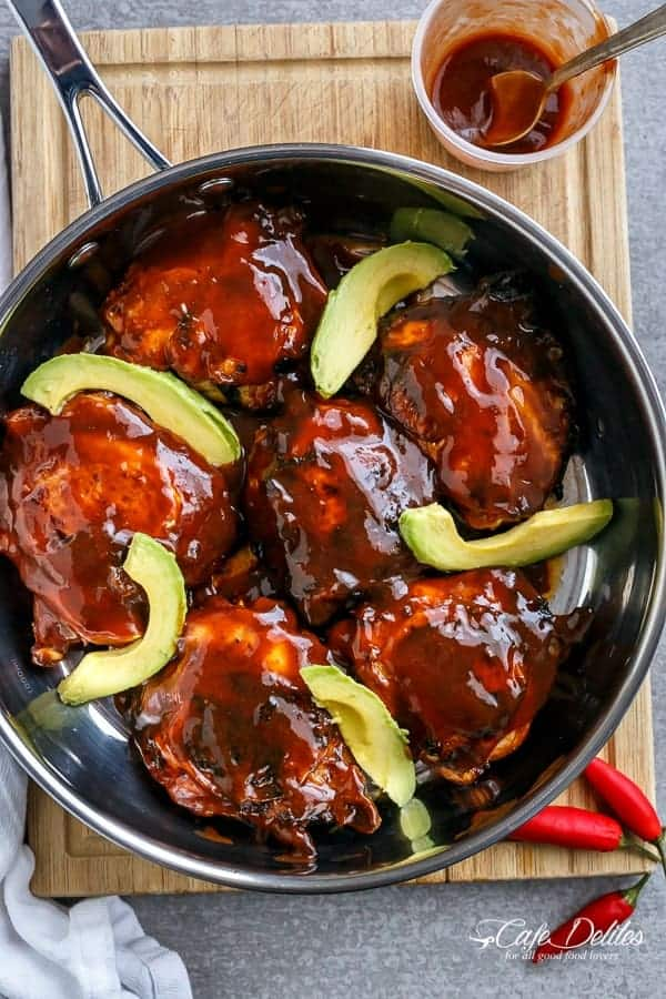Barbecue Buffalo Chicken Thighs with Avocado   https://cafedelites.com