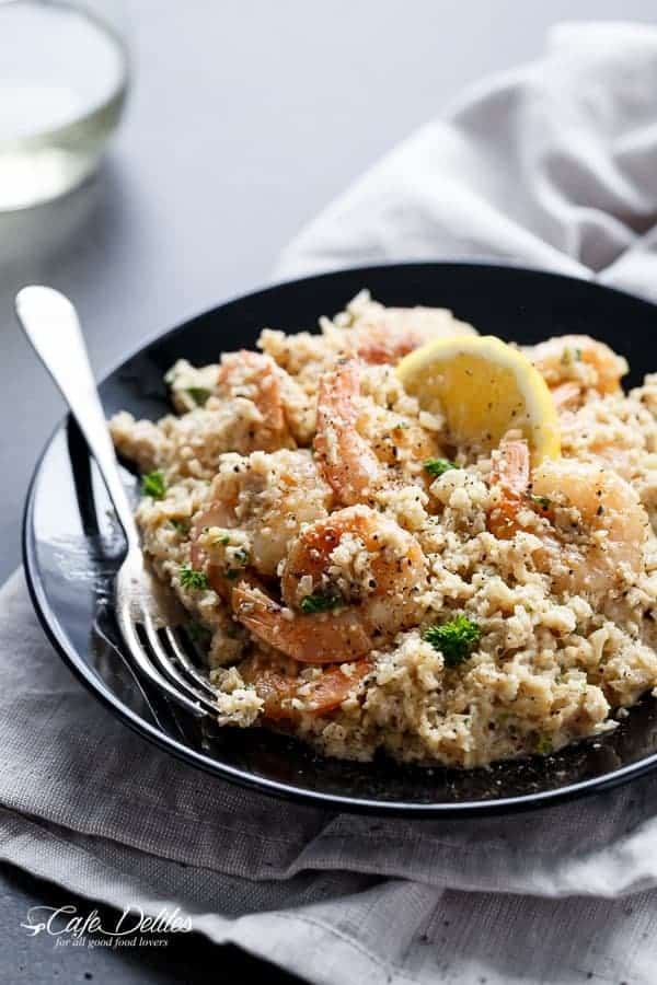 "Creamy Garlic Shrimp (Prawn) Cauliflower ""Risotto"" 