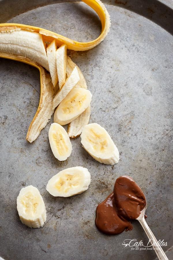 Nutella Stuffed Banana Pancakes | https://cafedelites.com