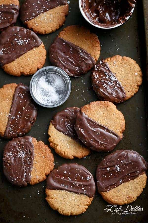 Salted Chocolate Dipped Peanut Butter Cookies | http://cafedelites.com
