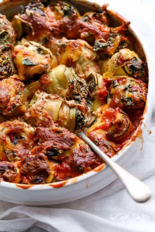 Spinach and Ricotta Zucchini CannelloniSpinach and Ricotta Zucchini Cannelloni | https://cafedelites.com