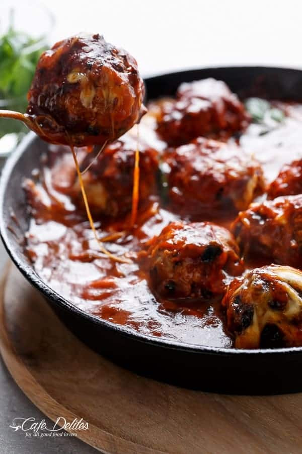 Sun Dried Tomato Cheesy Meatballs | http://cafedelites.com