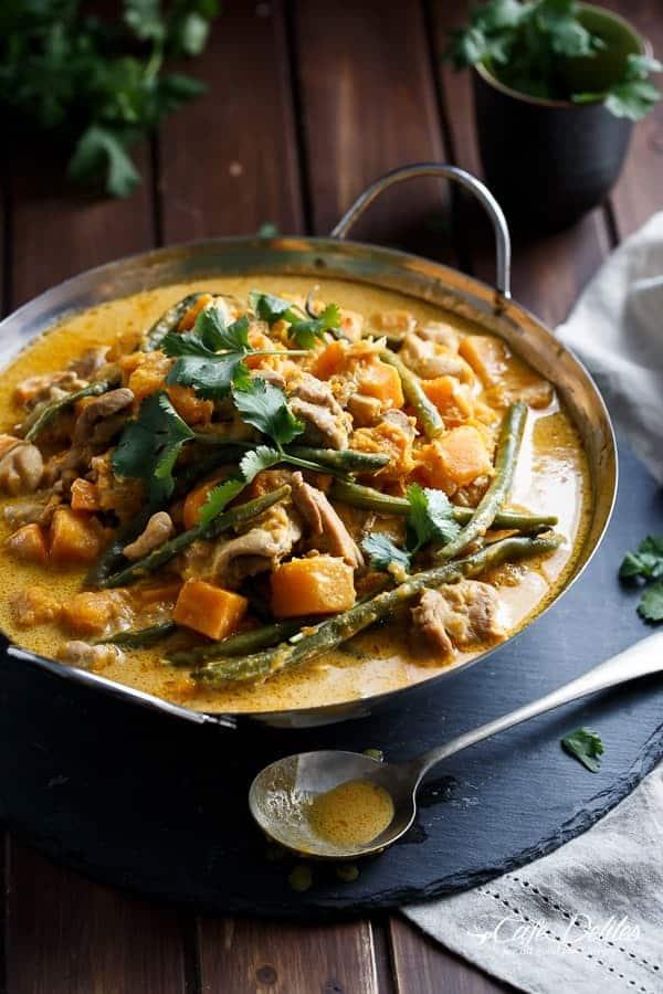 Chicken and Butternut Pumpkin Korma Curry | https://cafedelites.com