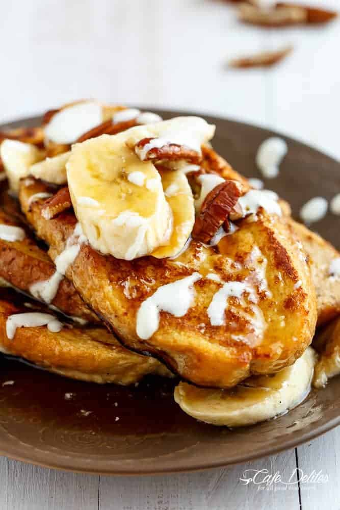 Banana Bread French Toast with a Cream Cheese Glaze | https://cafedelites.com