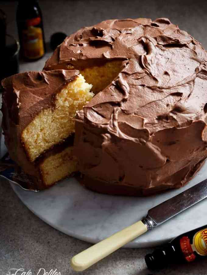 Butter Cake with Kahlua Chocolate Cream Frosting