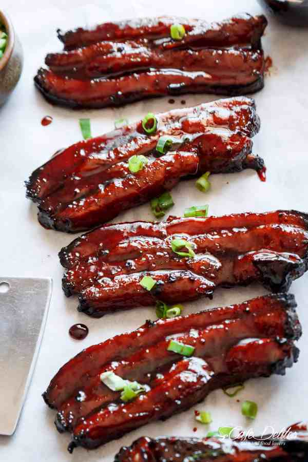 Sticky Chinese Barbecue Pork Belly (Char Siu) | cafedelites.com
