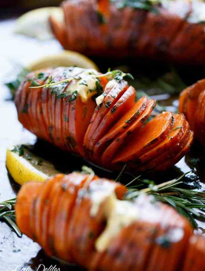 Hasselback Herbed Garlic Butter Sweet Potatoes