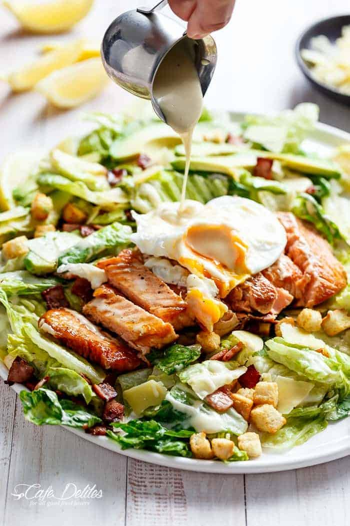 Grilled Salmon and Avocado Caesar Salad | http://cafedleites.com