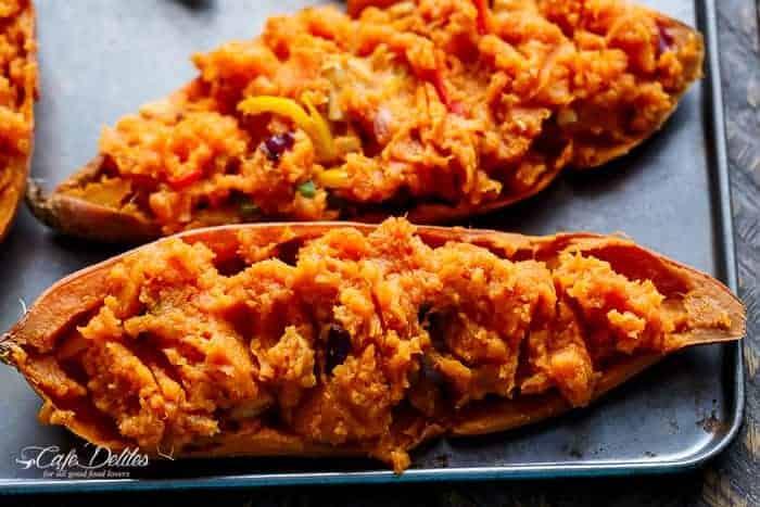 Twice Baked Chicken Fajita Sweet Potatoes | https://cafedelites.com