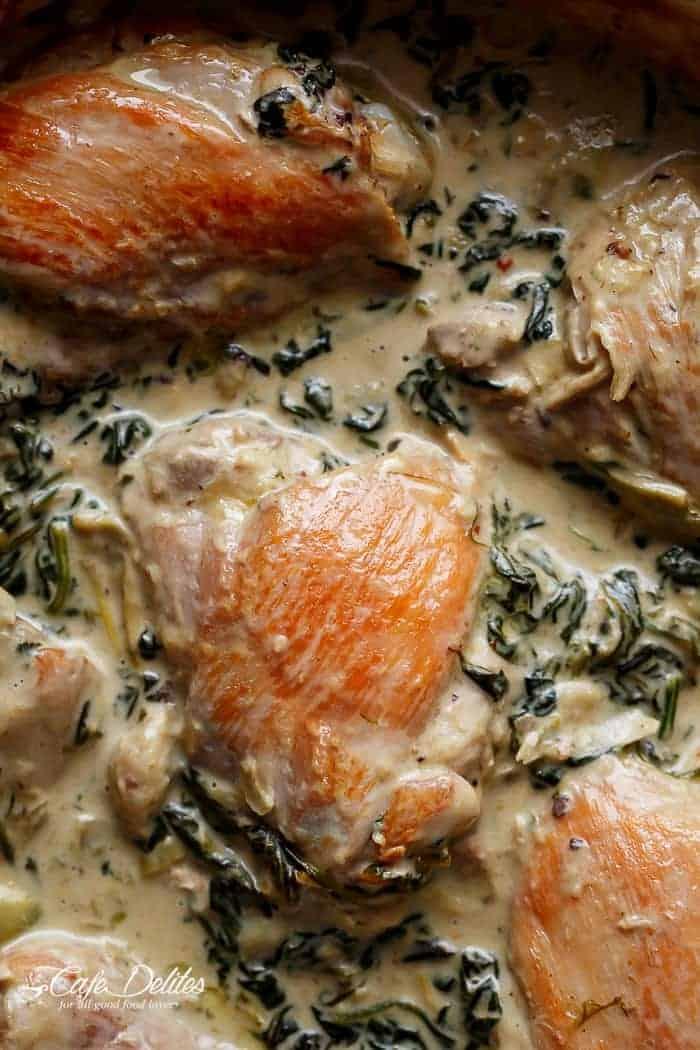 Creamy Spinach Artichoke Chicken Thighs   https://cafedelites.com
