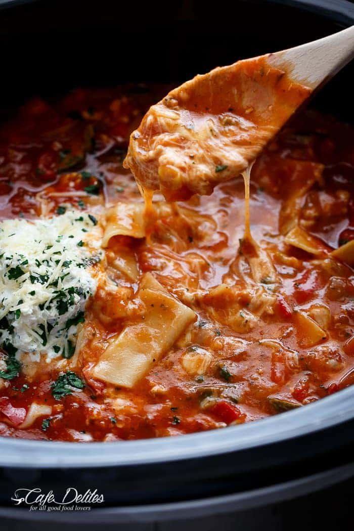 A lighter and healthier version of lasagna with all of the traditional flavours, this easy to make low fat lasagna soup comes together in minutes! No layering. No waiting around your oven. Simply throw all of your ingredients into your slow-cooker or crockpot and you have lasagna soup ready to be served whenever you are; with minimal work and maximum taste! | https://cafedelites.com