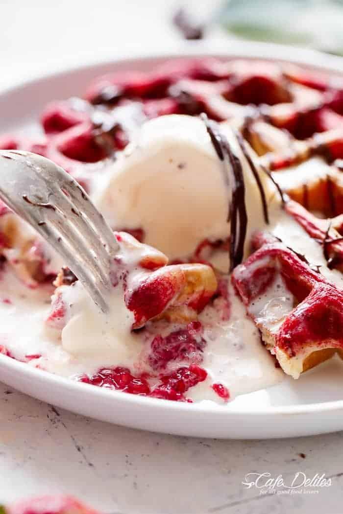 Red Velvet Marbled Waffles | http://cafedelites.com