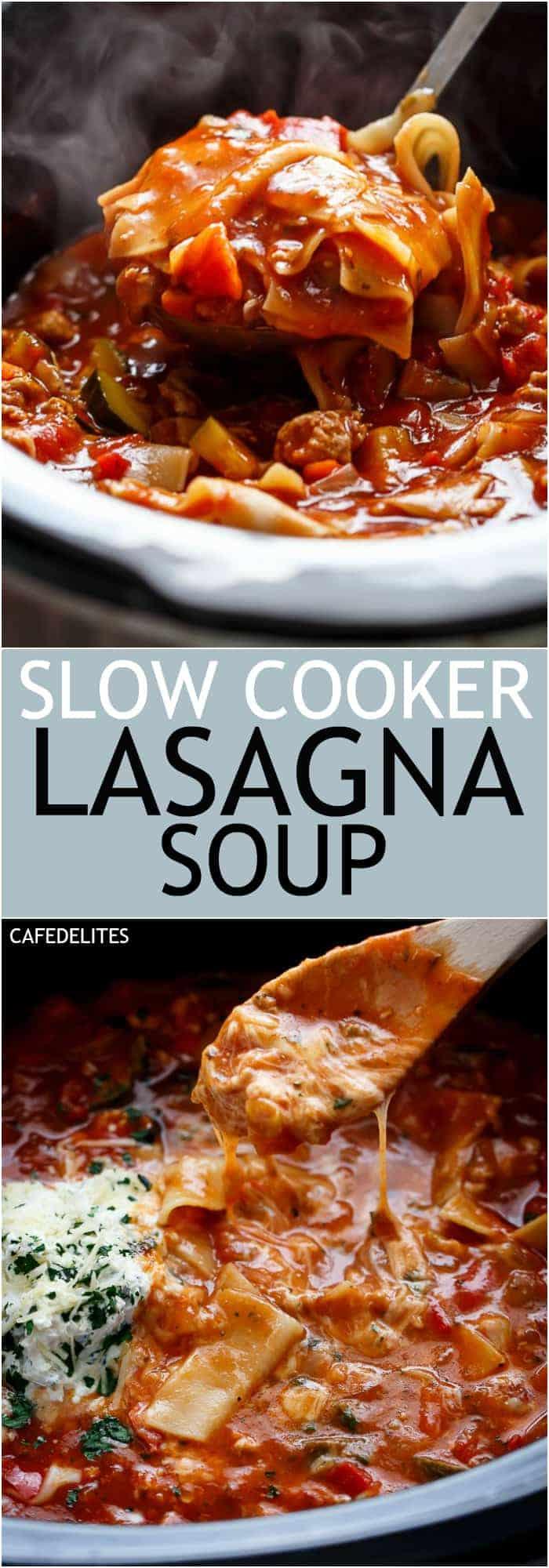 Lightened Up Easy Slow Cooker Lasagna Soup | https://cafedelites.com